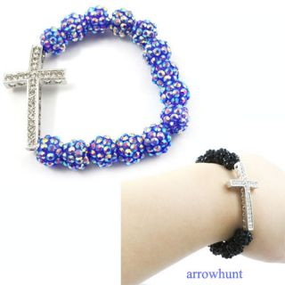 Elegent Resin Ball Elastic Bracelet Chain With Crystal Cross Red