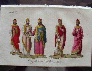 1829 Antique Print Merovingian Kings Dagobert Chilperic