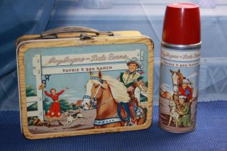 1953 Roy Rogers Dale Evans Double R Bar Ranch Metal Lunch Box with