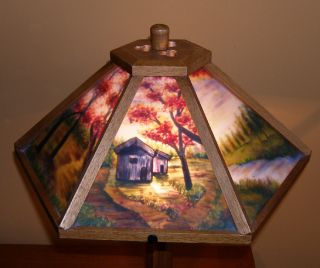 Dale Tiffany Reverse Painted Glass Panel Craftsman Lamp Oak Base and