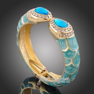 18K Yellow Gold GP Swarovski Crystal Blue Enamel Cuff Bangle B388