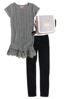 Pink Angel Sweater, Tractor Denim Leggings & Juicy Couture Velour Messenger Bag (Big Girls)