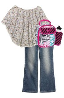 Jenna & Jessie Floral Batwing Top, Squeeze Flare Leg Jeans & Roxy Lunch Bag Set (Little Girls)