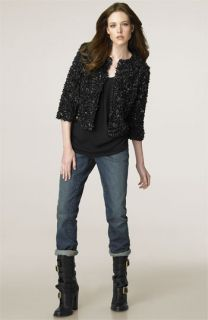 Tory Burch Silk Top & Stretch Jeans with Floral Crop Jacket