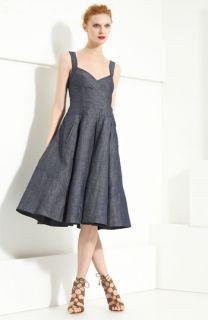Donna Karan Collection Organza & Denim Pleated Dress