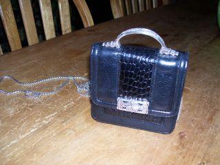 Brighton Black Leather Small Purse Wallet w Silver Chain Strap