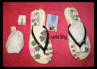 Cudas Black Pink Floral Flowers Print Flip Flops Sandals DSW Sz 7