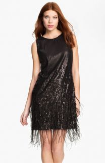 Jessica Simpson Sequin & Feather Detail Shift Dress