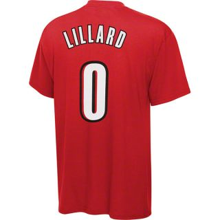 Damian Lillard Adidas Red Name and Number Portland Trail Blazers T