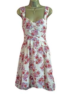 Miss Selfridge Open Back Cream Tea Dress Vtg 40s Red Floral Design