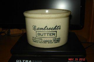 Vintage Antique Lambrechts Creamery Dairy Salt Glazed Stoneware Butter