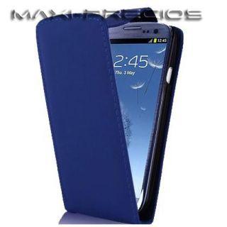 Funda Cuero + 2 PROTECTOR PANTALLA Samsung Galaxy S3 i9300 SIII AZUL