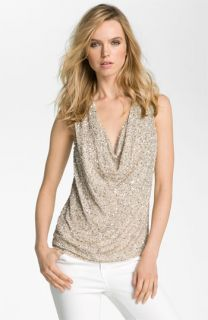 Haute Hippie Sequin Cowl Neck Tank