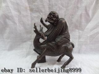 Bronze Sculpture Buddhism Arhat Damo Buddha Ride Deer Statue