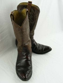 Cowboy Boots Mens Chocolate Brown Leather Dan Post Well Maintained