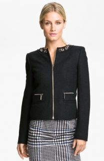 MICHAEL Michael Kors Chain Trim Zip Jacket (Petite)