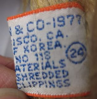 Vintage 1977 14 R Dakin Plush Felt Monkey Chimp Tagged