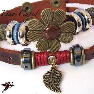 Leather Flower Leaf Bracelet Wristband Ethnic Hemp Bead Handcraft