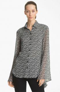 Jean Paul Gaultier Branch Print Silk Blouse