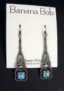 Banana Bob Vtg Deco Design Dangle Blue Turquoise Art Glass Pierced
