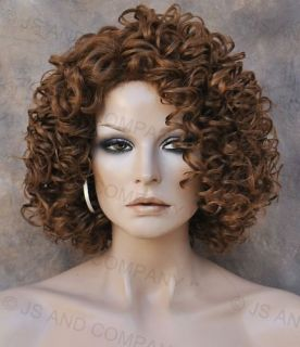 Human Hair Blend Wig Curly Light Auburn and Strawberry Blonde Mix Heat
