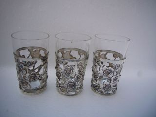 Quality 3P Japanese Sterling Silver Cup Holders w Glass Inserts