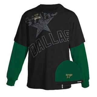 New Mens NHL Dallas Stars Hockey Reebok Layered T Shirt Knit Beanie