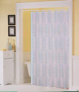 Printed Fabric Shower Bath Curtain 12 Rings Hooks Vinyl Liner WHITE