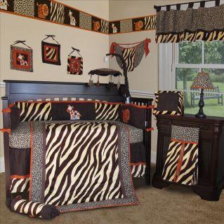 Baby Boutique Brown Zebra 13 Boy Girl Crib Nursery Bedding Set