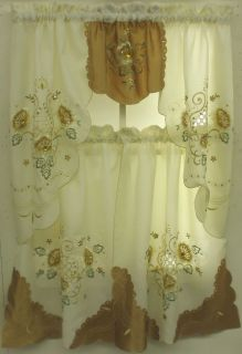 Flowers Tier Curtain and Swag Set with Jewel Accents