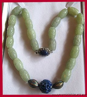 Vintage Chinese Carved Lapis Silver Nephrite Jade Necklace