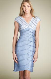 Adrianna Papell Shutter Pleat Satin Dress