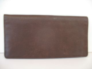 FOSSIL SUPER SOFT BROWN PEBBLED LEATHER INTERIOR LOGO FABRIC CHECKBOOK