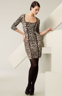 Blumarine Leopard Print Sponge Knit Dress