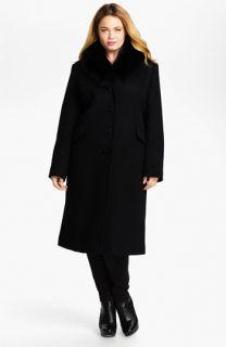 Sachi Wool Blend Coat with Genuine Fox Fur (Plus)