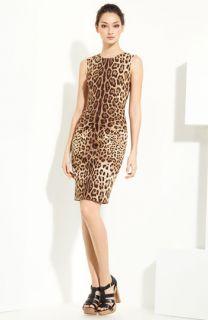 Dolce&Gabbana Leopard Print Stretch Cotton Dress