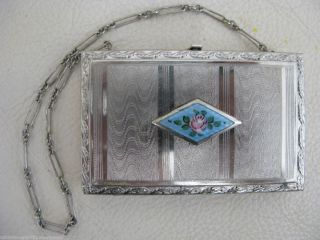 Art Nouveau Deco Silver Gold Blue Guilloche Powder Purse Dance Compact