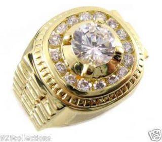 Clear CZ April Birthstone Mens Custom Jewelry Ring Size 7 15