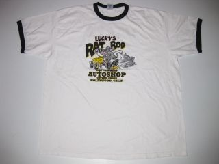 Luckys Rat Rod Auto Shop Custom Tee Shirt XXL XXLarge Lucky Brand Hot