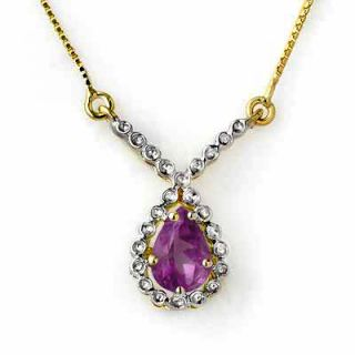 Genuine 60ctw Amethyst Ladies Necklace Yellow Gold