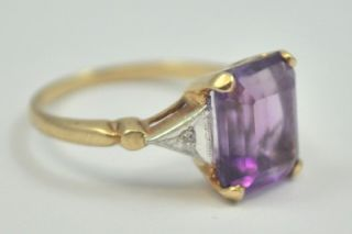10K Yellow & White Gold 3.0 Carat Emerald Cut Amethyst & Diamond Ring