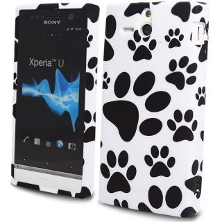 For Sony Ericsson Xperia U ST25i Paws Footprint White Silicone Gel