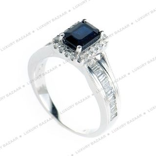 14k White Gold Emerald Cut Black Sapphire Diamond Ring
