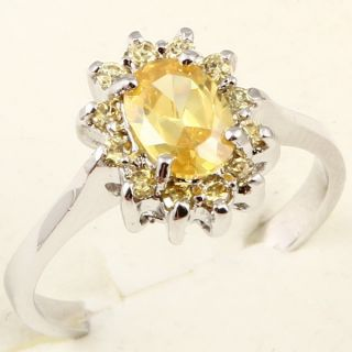 Oval Cut Yellow Sapphire Cocktail A083 Ring