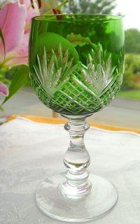 Bohemian Harlequin Glass 2 Emerald Green Sherry Glasses