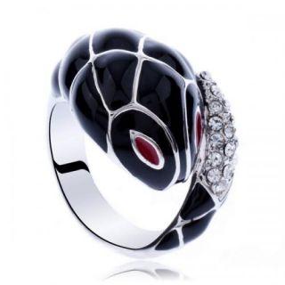 cute black snake swarovski elements crystal cocktail fashion ring