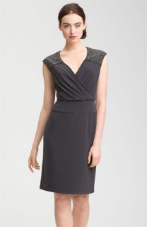 Adrianna Papell Embellished Cap Sleeve Dress (Petite)