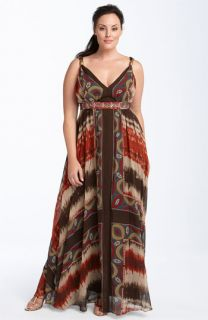 JS Collections Border Print Chiffon Dress (Plus)