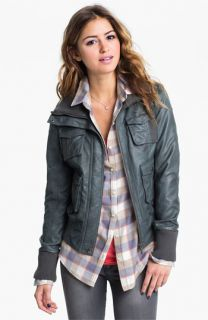 Collection B Faux Leather Bomber Jacket (Juniors)