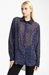 Christopher Kane Leopard Print Silk Georgette Blouse